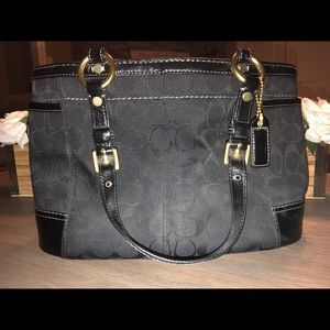 Vintage Black Coach Purse with Gold Hardware